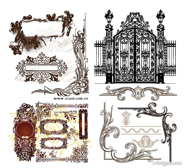 A variety of practical European style lace pattern vector material