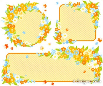 Cute little flowers decorative frame vector material