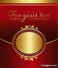 Golden pattern with oval Vector material
