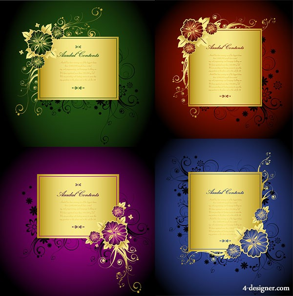 Gorgeous gold lace border vector material  2