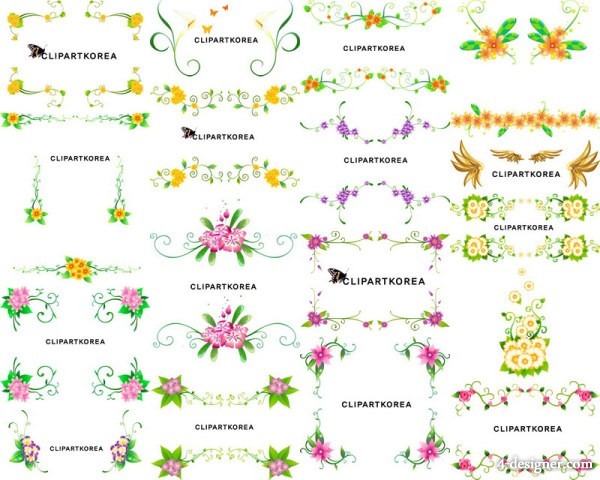 16 vector flowers and lace pattern