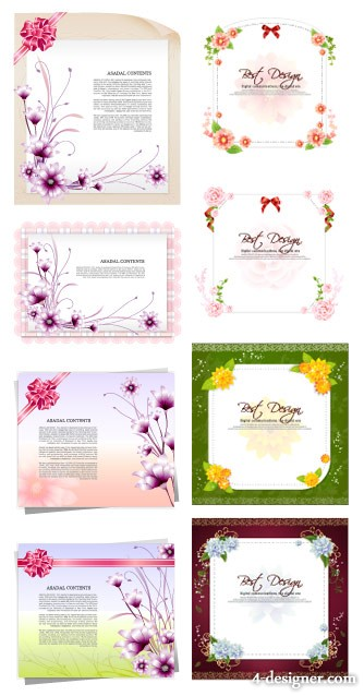 Flowers paper bow vector material