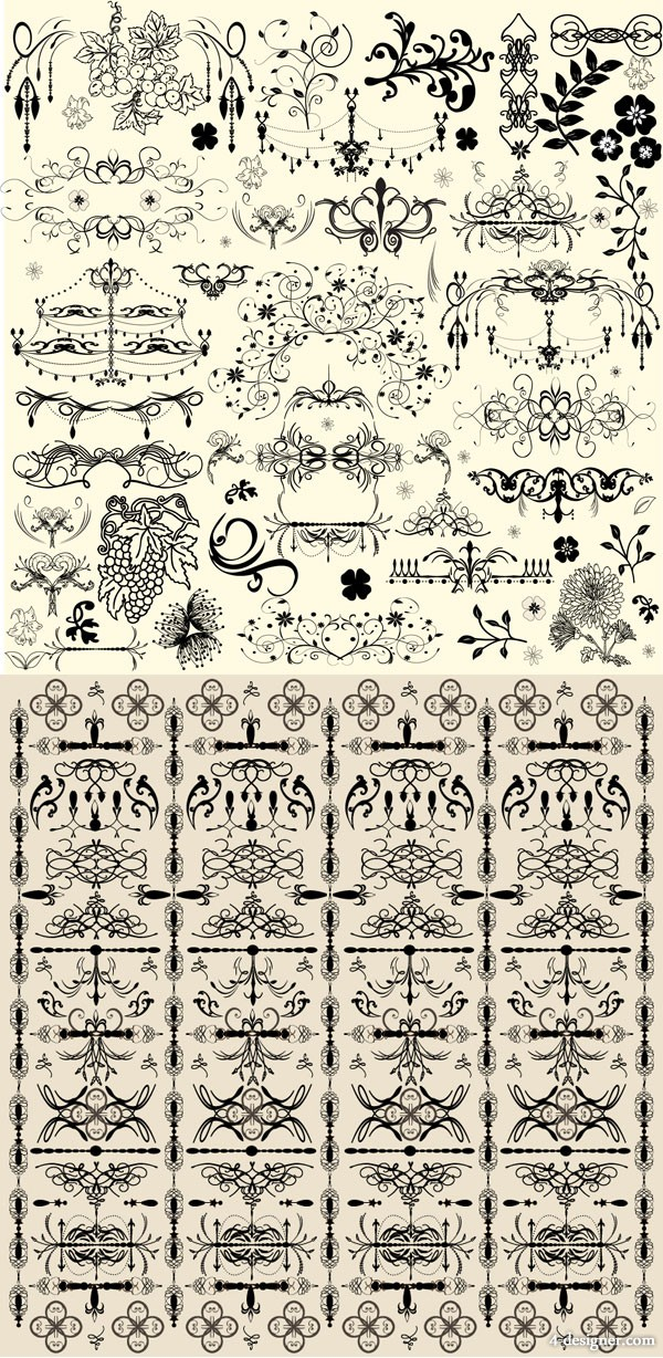 European pattern corners   Vector material