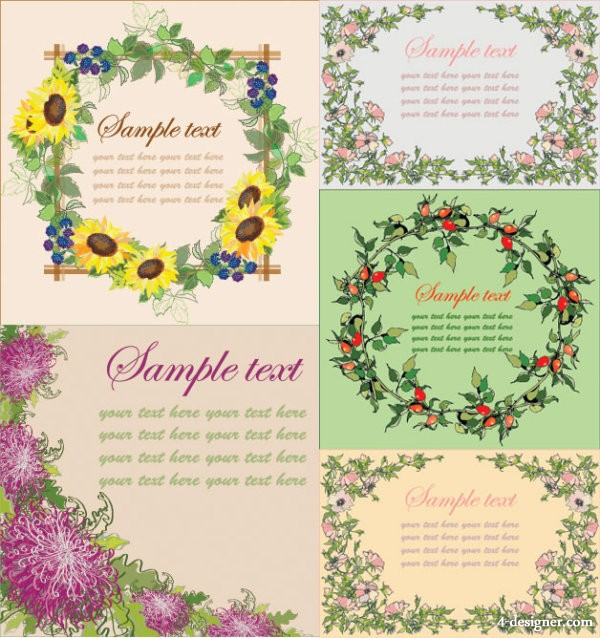 Flowers border vector material