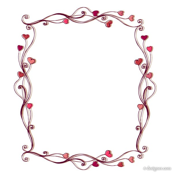 image about Valentine Borders Free Printable titled 4-Designer Middle formed border 02 vector articles
