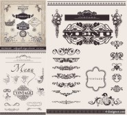 The European decorative lace pattern vector material