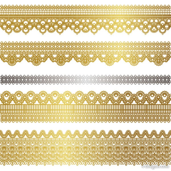 Vector golden lace pattern 02   vector material