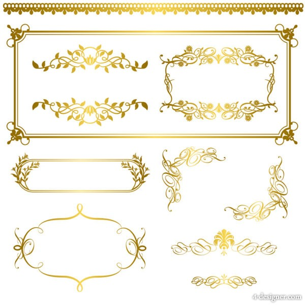 Vector golden lace pattern 05   vector material