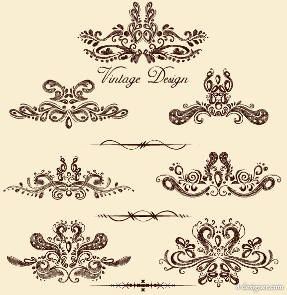 European lace pattern 03   vector material