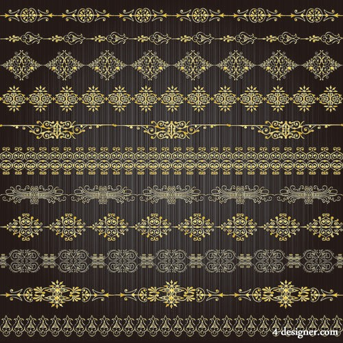 Golden lace pattern 02   vector material