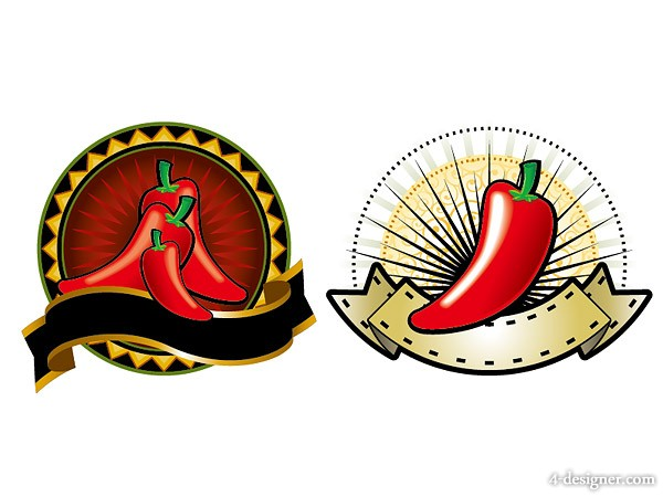 2 red pepper, theme decorative pattern vector material Vector