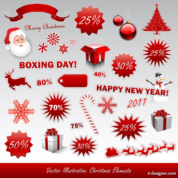 2011 New Year Christmas icon vector material