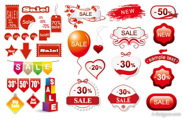 3 sets of discount sales decorative icon vector material