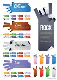 5 kinds of gestures shaped paper paper vector material
