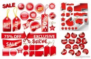 A variety of red decorative label graphics vector