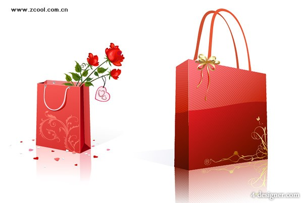 Bag and roses Vector
