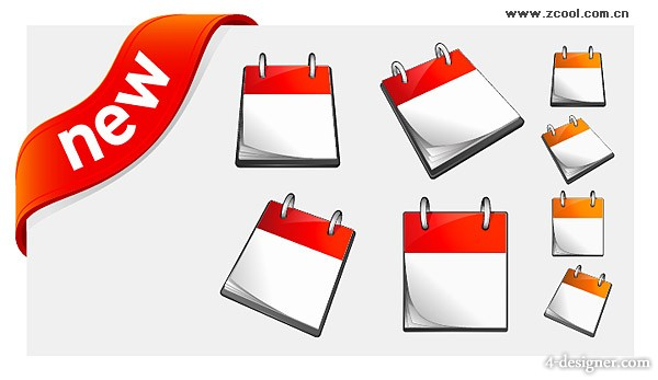 Calendar and new decorative icon vector material
