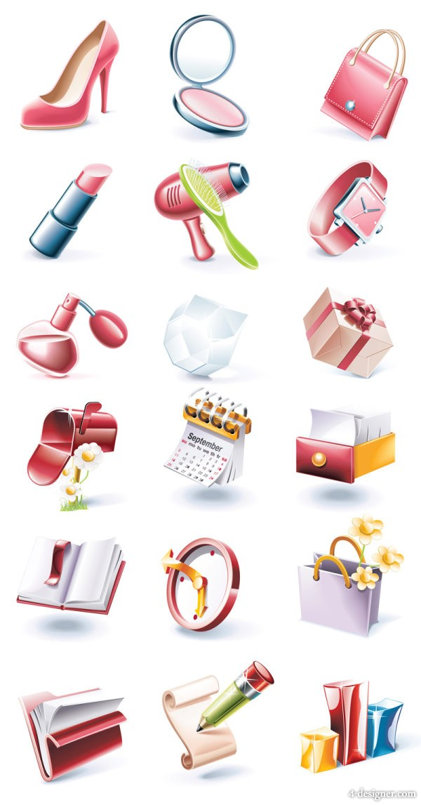 Cartoon style, red icon set   Vector
