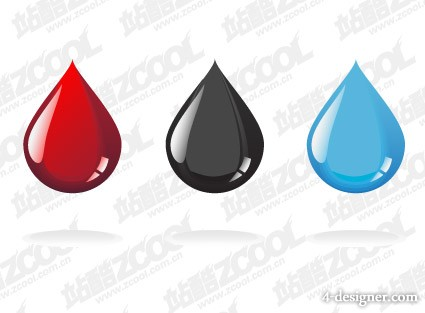 Colored water droplets vector material