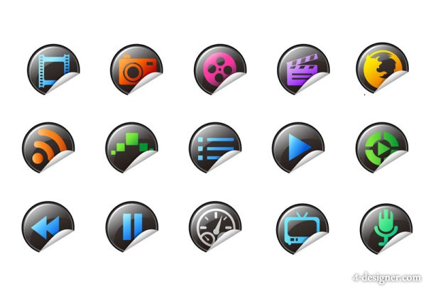 Exquisite volume angle panel of icons   vector material