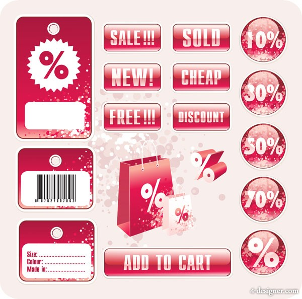Mall sales discount label vector material