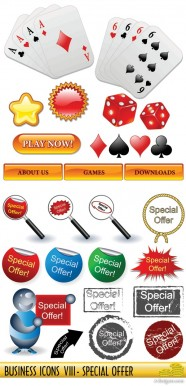 Poker, dice, magnifying glass vector material