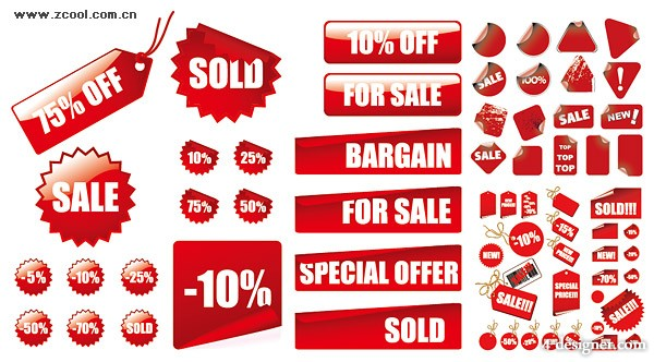 Red discounted sales decoration vector material