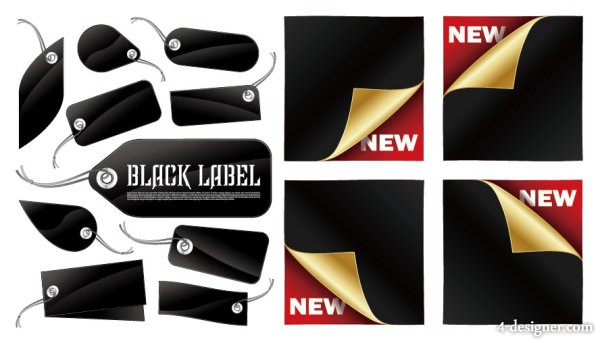 The Black tag and sticker Vector