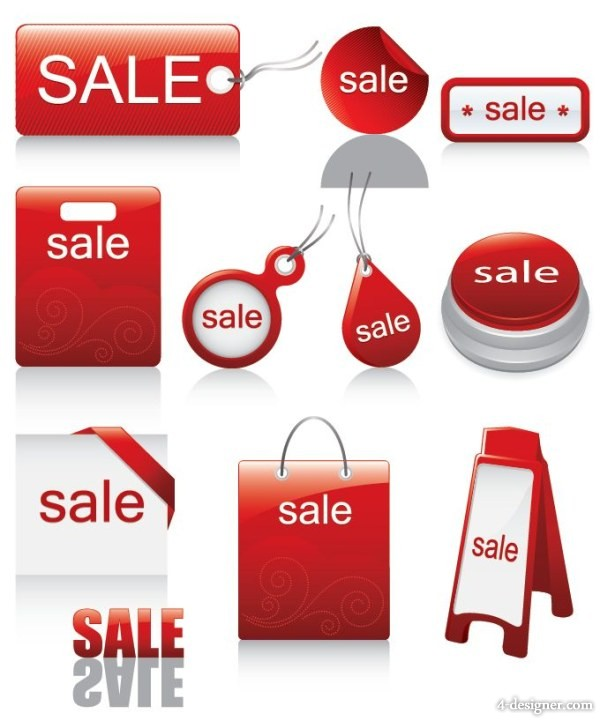 The red sales discount icon vector material