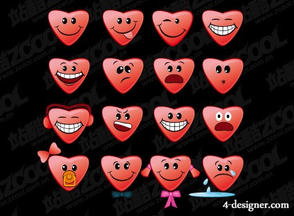 Theme of the heart shaped face icon vector material