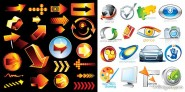 2 sets of 3d style icon vector material