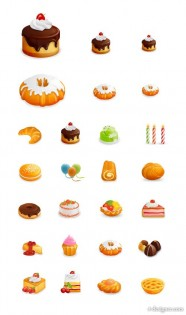 Beautiful western style pastries icon vector material