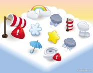 Cartoon weather icon 03   Vector material