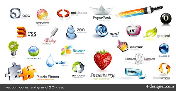 Cool dimensional crystal effect icon vector material