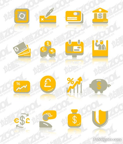 Cute financial class icon vector material Vector