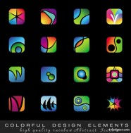 Exquisite colorful icons   vector material
