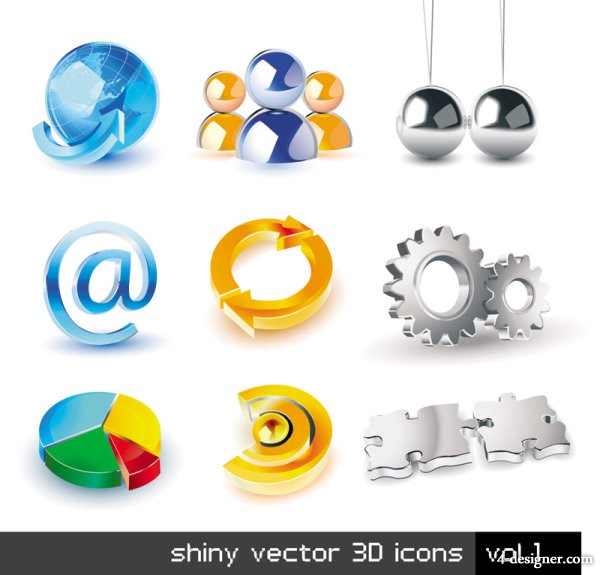 Exquisite stereoscopic icon set 01   vector material