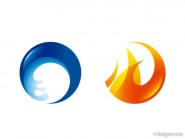 Fire and water circular icon vector material