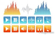 Fluctuations in music and sound elements vector icon material