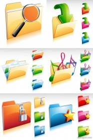 Gorgeous file folder icon   Vector material