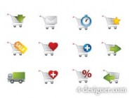 Practical utility cart small icons   Vector material