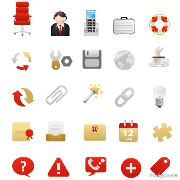 Red theme icon vector material