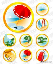 Seaside resort icon vector material