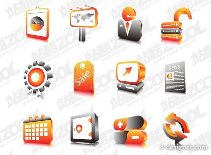 Sets of three dimensional icon vector material