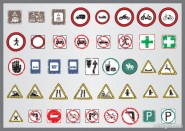 Shabby traffic signs icon vector material 01   Vector