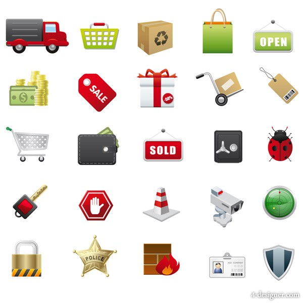 Supermarket with icon vector material