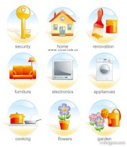 The beautiful elliptical Crystal icon vector material