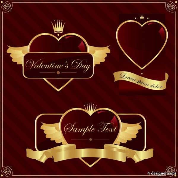 Vector gold heart shaped label