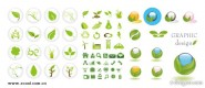 4 sets of green icon vector material