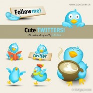A vivid twitter icon vector material